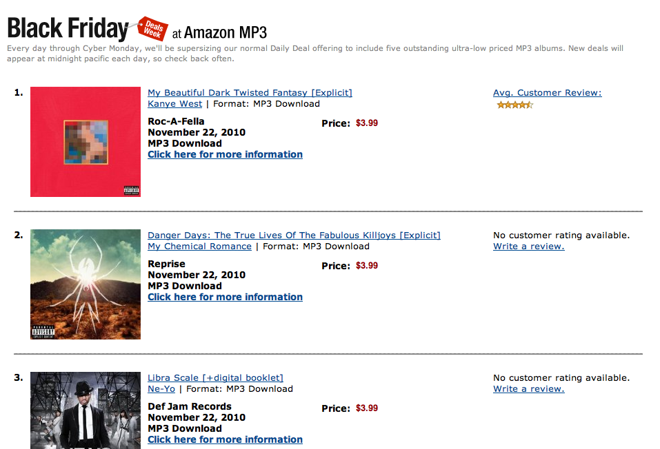 amazon black friday kanye mcr robyn Buy new albums from Kanye West, Robyn, My Chemical Romance for $3.99