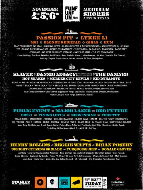 fun fun fun 2011 Slayer, Danzig, Passion Pit, Public Enemy head Fun Fun Fun Fest 2011