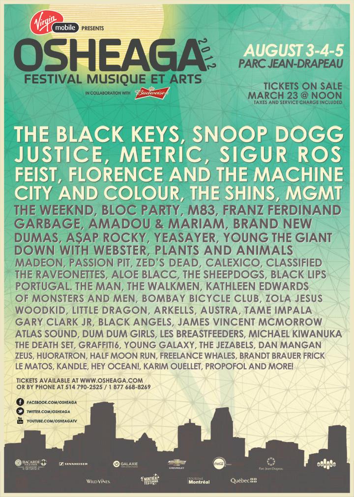 osheaga 2012 The Black Keys, Sigur Rós, MGMT to play Osheaga 2012