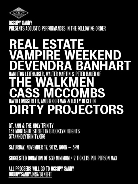 Vampire Weekend, Dirty Projectors, Real Estate to play Hurricane Sandy benefit
