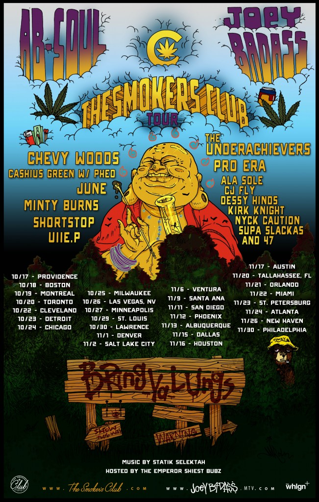 Joey Bada$$, Ab Soul, and The Underachievers team for The Smokers Club tour
