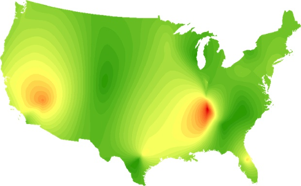 countrymap Heres a map of Americas musical preferences by genre
