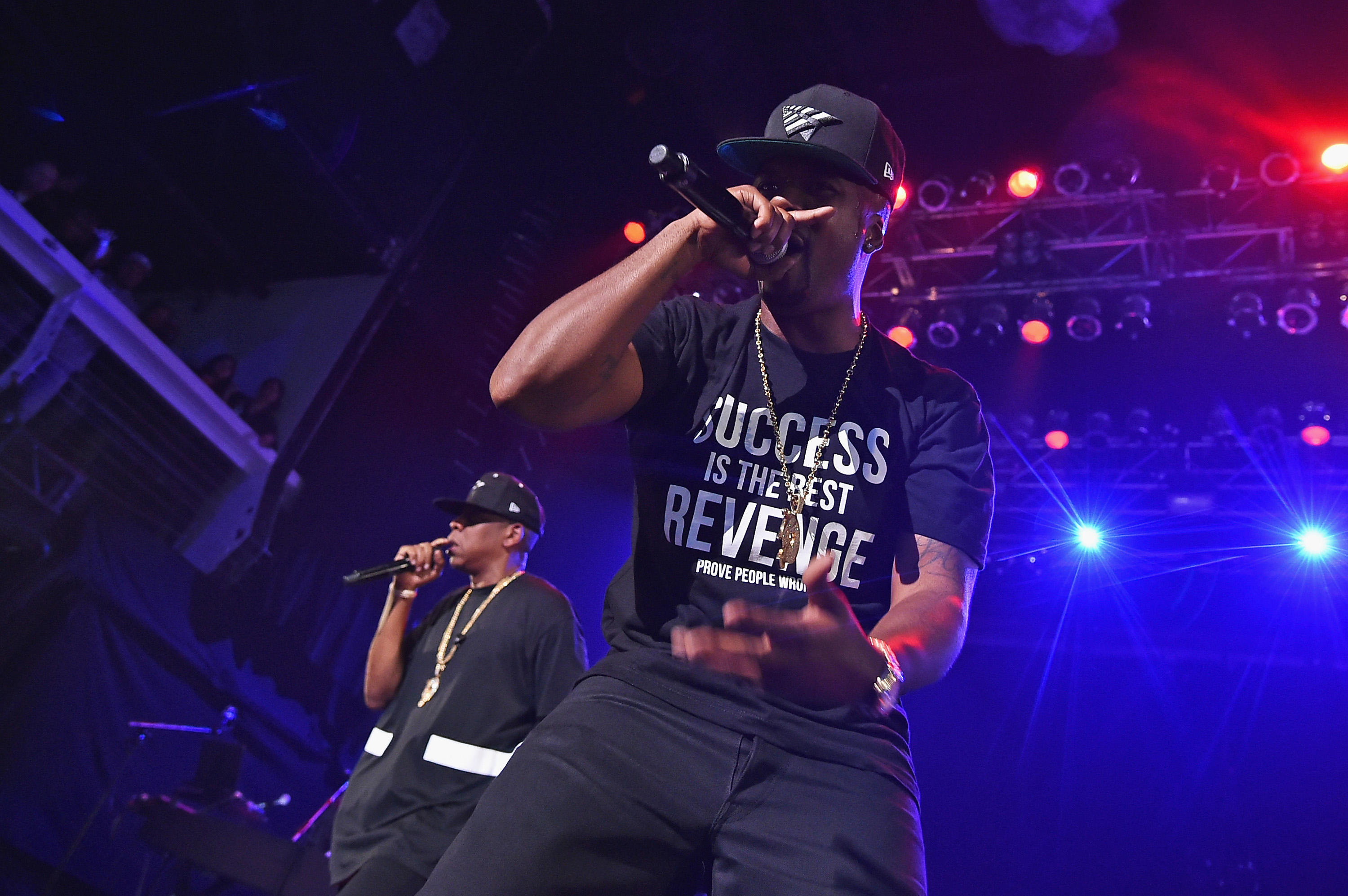 NEW YORK, NY - MAY 16:  Jay-Z (L) and Memphis Bleek perform during TIDAL X: Jay-Z B-sides in NYC on May 16, 2015 in New York City.  (Photo by Theo Wargo/Getty Images for Live Nation)