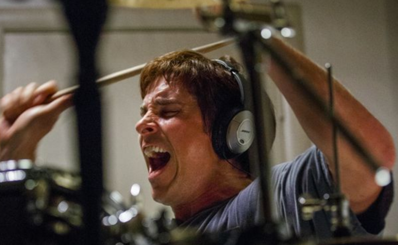 Christian Bale drumming