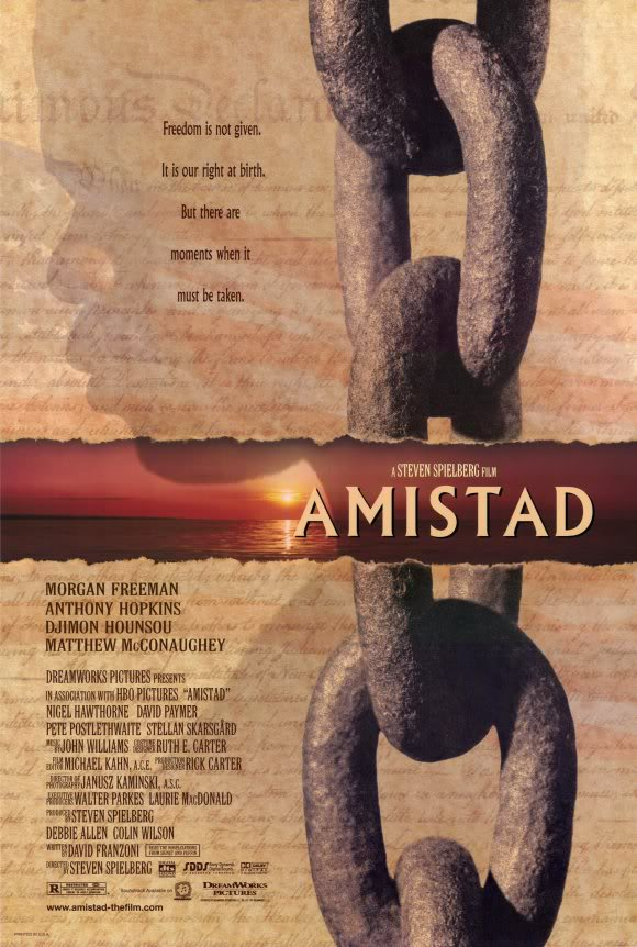amistad poster Ranking: Every Steven Spielberg Movie from Worst to Best