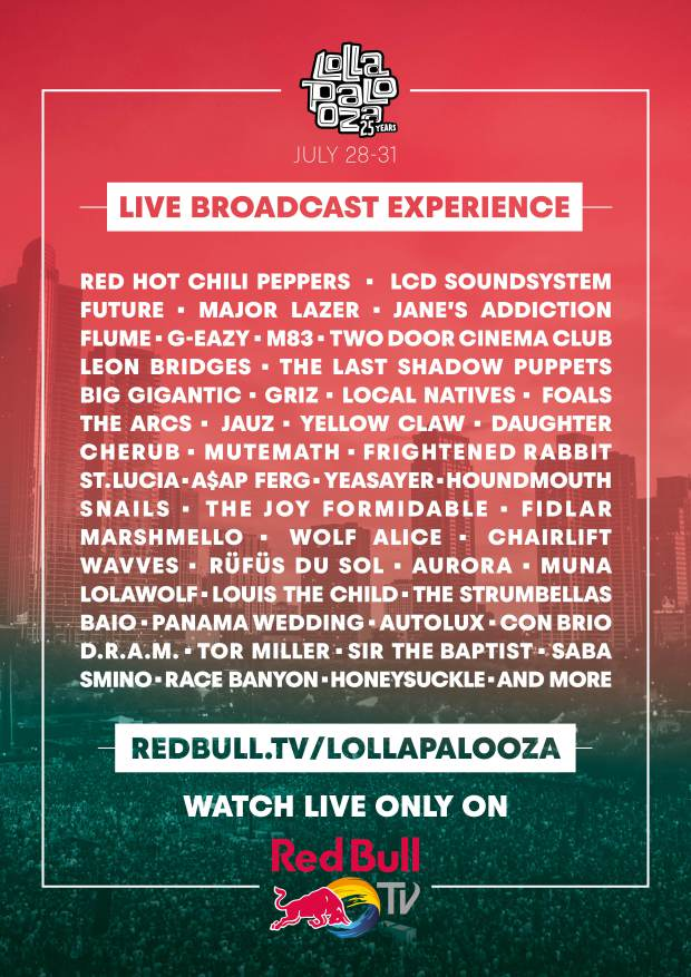 poster red bull lollapalooza 2016 Webcast: Lollapalooza announces 2016 live stream schedule