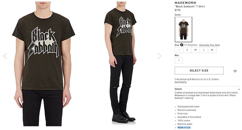 black sabbath full barneys Barneys is selling obscenely expensive band t shirts