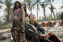 The blind Chirrut Imwe (Donnie Yen, right) believes in the Jedi, but his companion Baze Malbus (Jiang Wen) has doubts