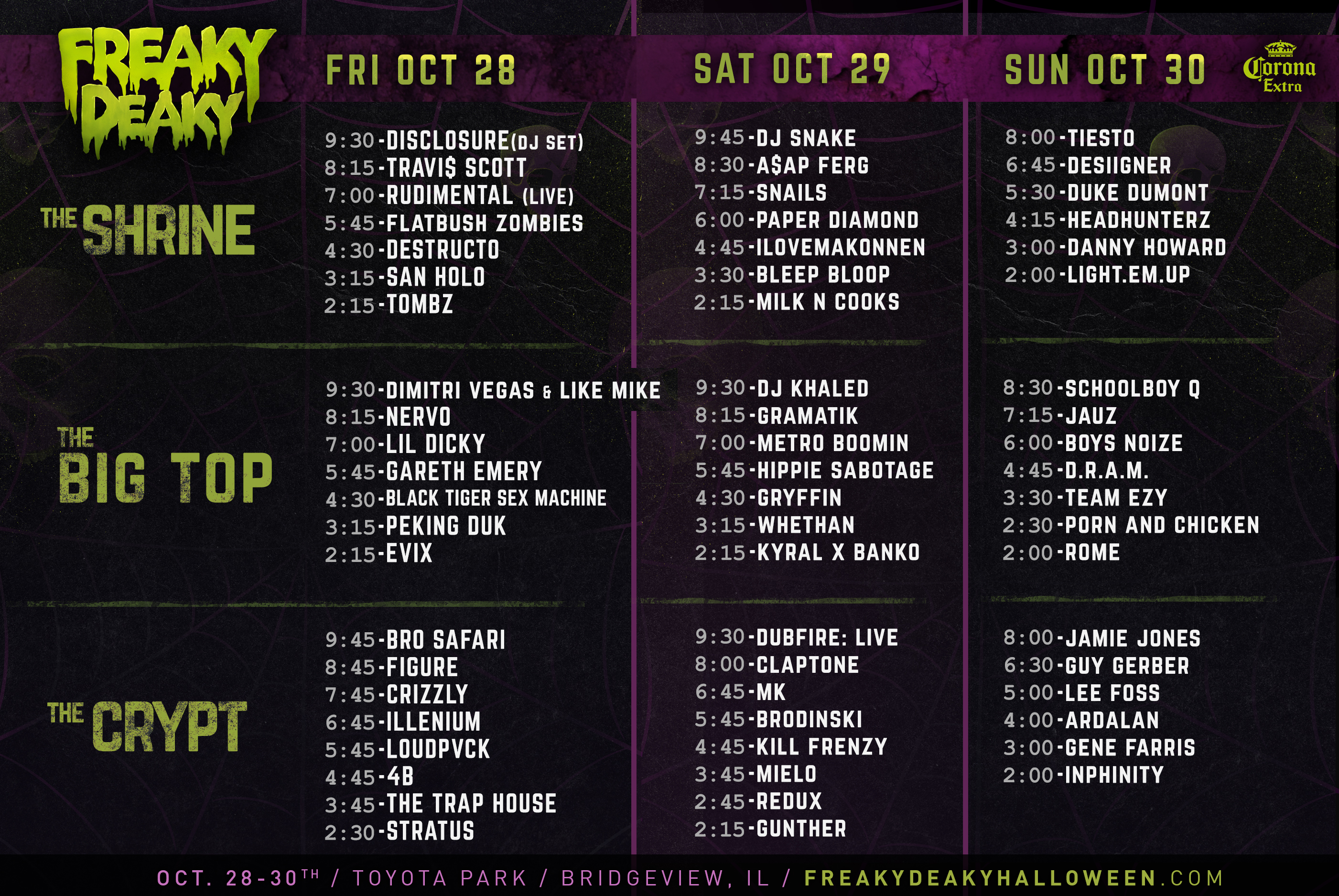 set times 3days fd16 Chicago Halloween festival Freaky Deaky announces 2016 lineup