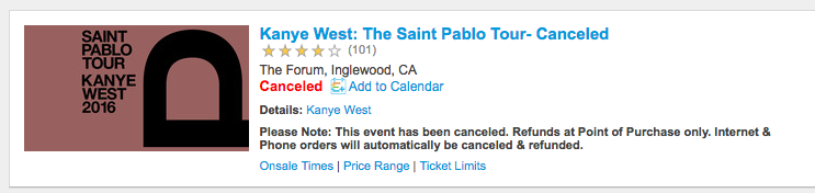 kanye west cancels forum show Kanye West cancels tonights Los Angeles concert following latest on stage meltdown