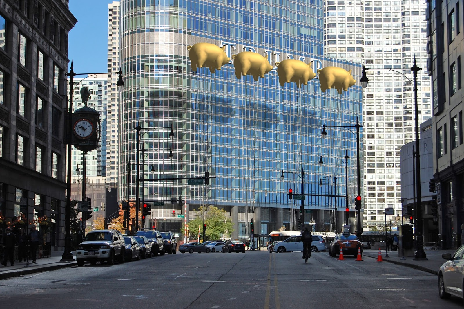 south view final Chicago architects want to hide Trump Tower logo with pigs inspired by Pink Floyds Animals