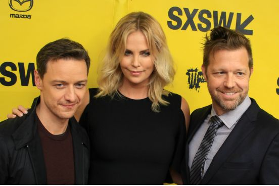 James McAvoy, Charlize Theron, and David Leitch // Atomic Blonde // Photo by Heather Kaplan