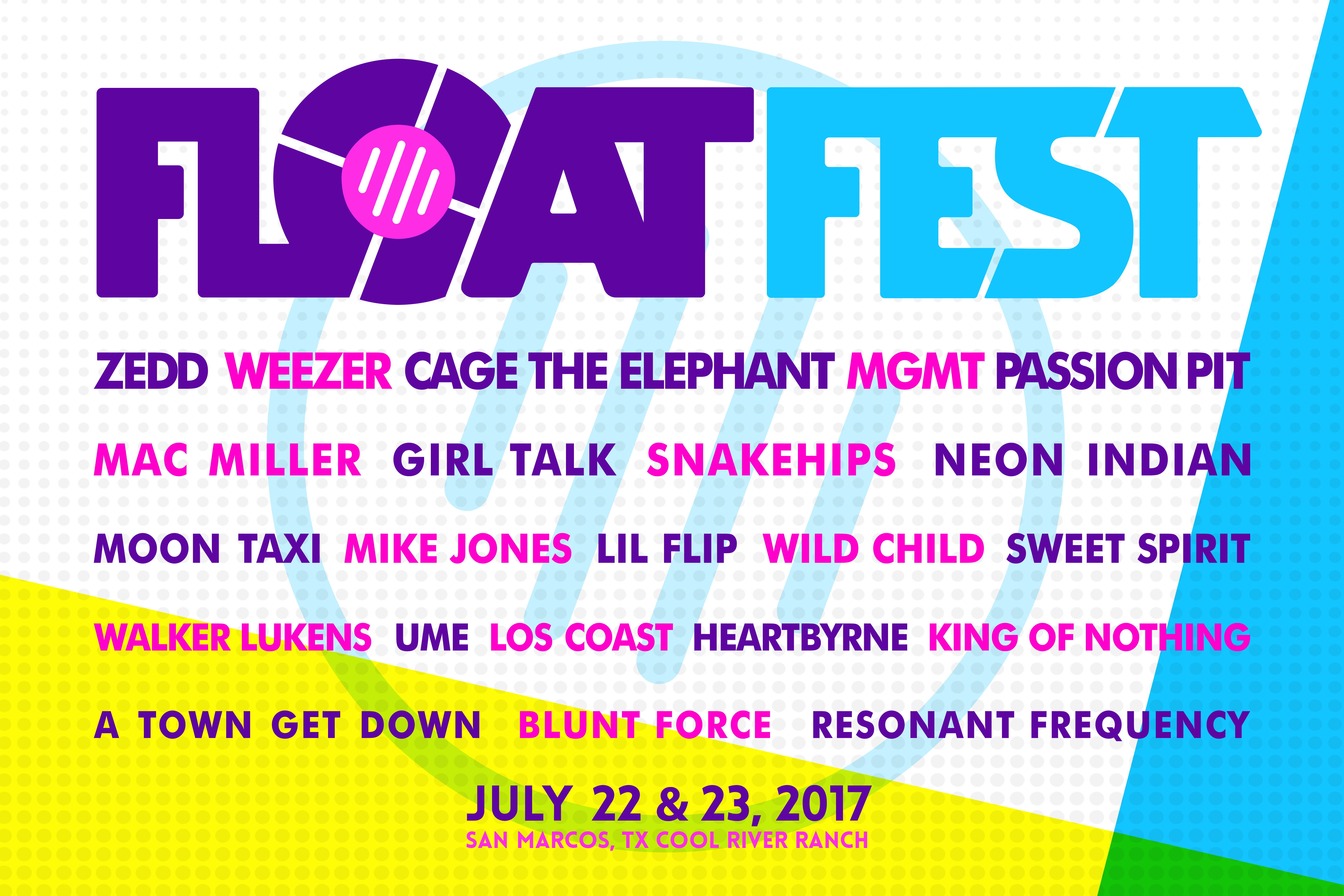 18x12 facebook lineup 01 Float Fest reveals 2017 lineup: MGMT, Weezer, Passion Pit to headline