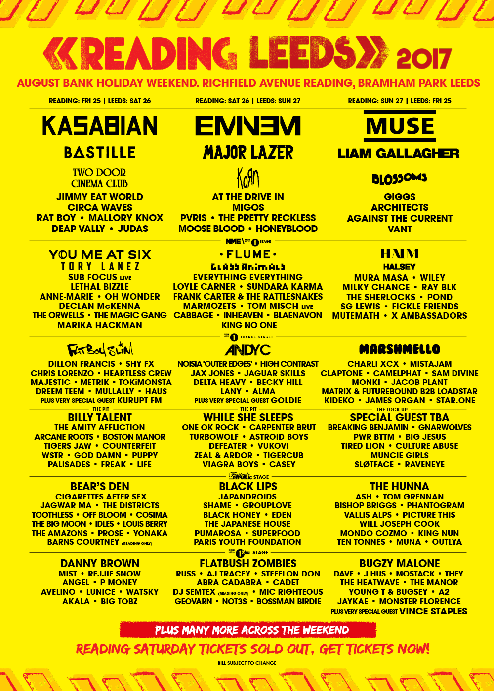 reading lineup Reading and Leeds reveals 2017 lineup