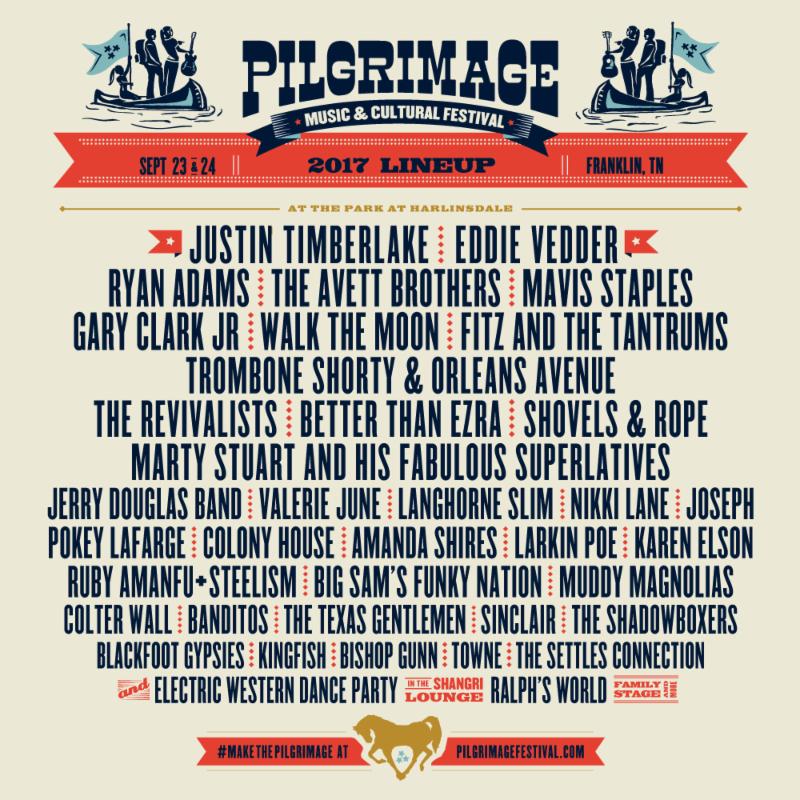 unnamed 3 Justin Timberlake, Eddie Vedder, Ryan Adams to play Pilgrimage Festival 2017