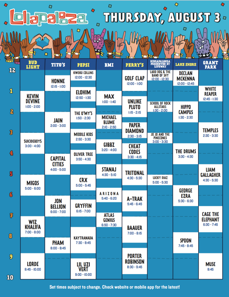 screen shot 2017 05 09 at 10 44 36 am Lollapalooza reveals 2017 set times, and weve resolved all the messy conflicts