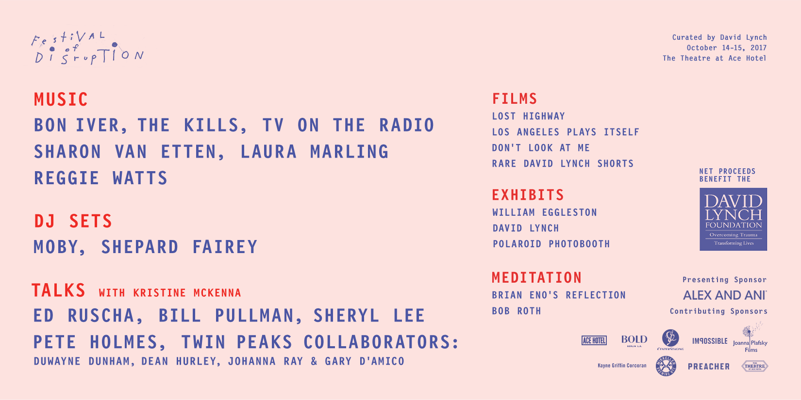 unnamed4 David Lynchs Festival of Disruption returns in 2017 with another doozy of a lineup
