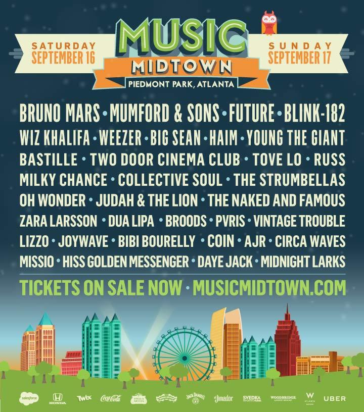music midtown1 Atlantas Music Midtown reveals 2017 lineup: Bruno Mars, Mumford & Sons, Future to headline