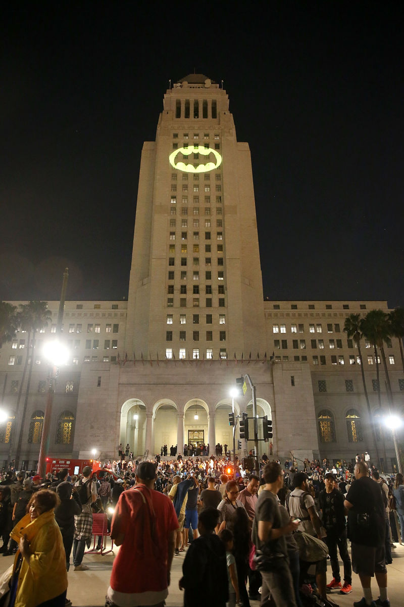 west 2 Los Angeles shines the Bat Signal in honor of Adam West
