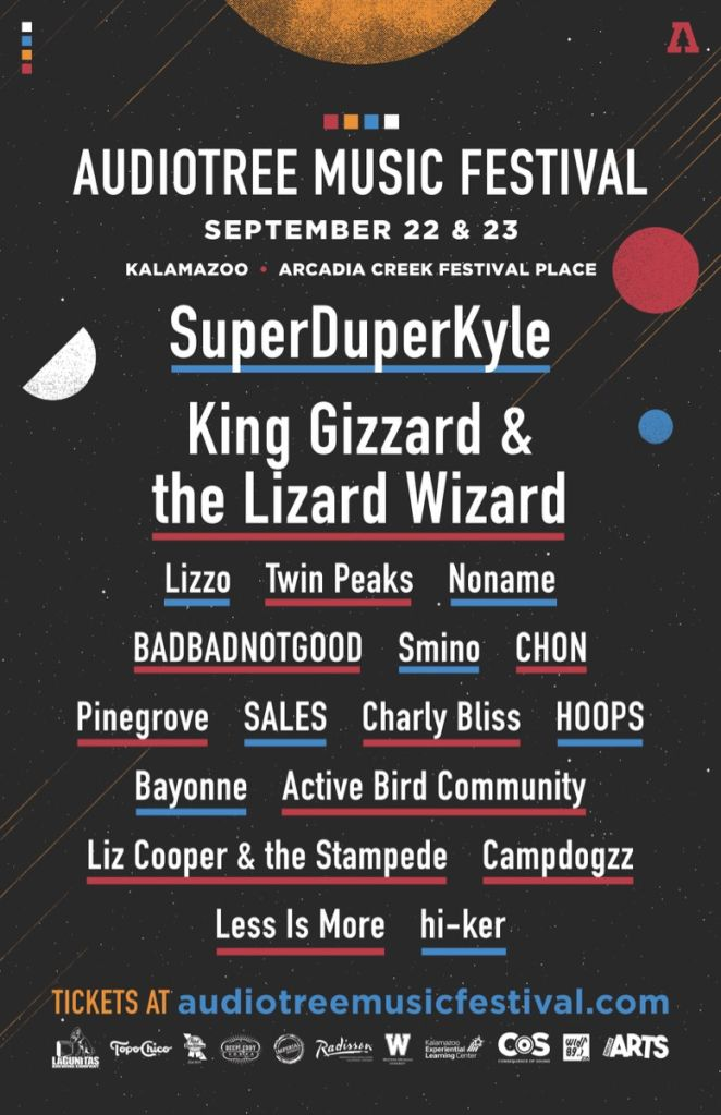 atmf 2017 line up poster inverted 11x17 Audiotree Music Festival brings Noname, Lizzo, King Gizzard, and more to Kalamazoo this September