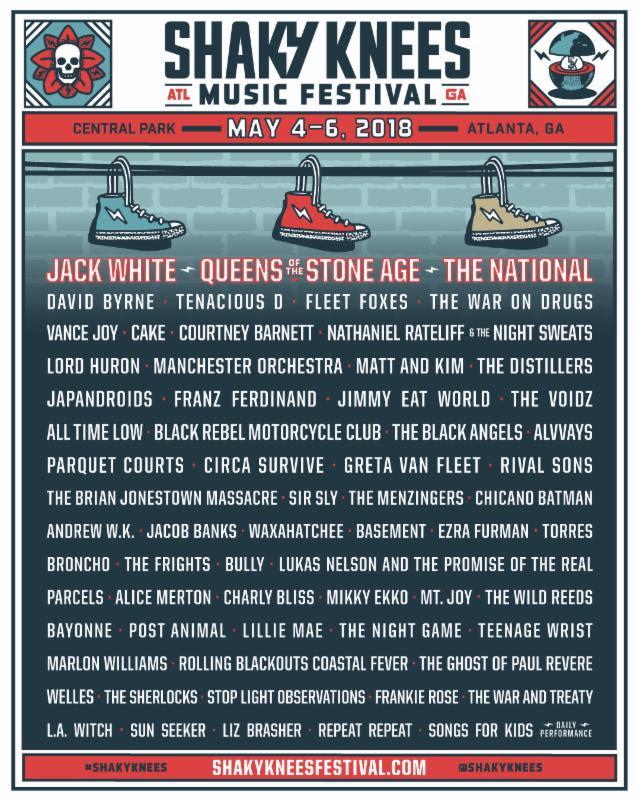 shaky knees 2018 Shaky Knees reveals 2018 lineup: Jack White, QOTSA, The National, and David Byrne