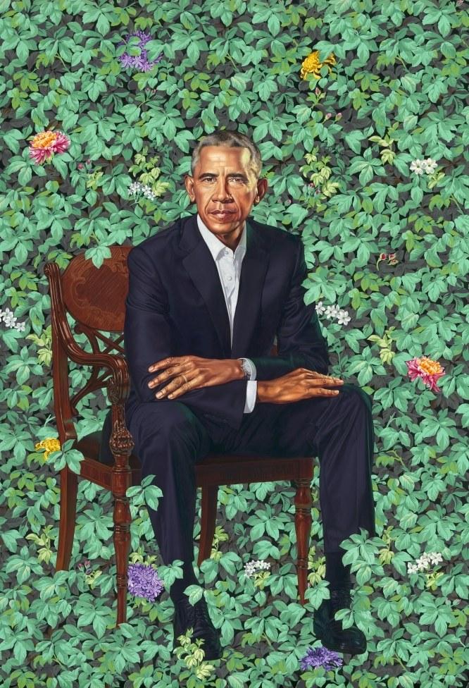 barack obama portrait Barack Obama unveils presidential portrait painted by Kehinde Wiley