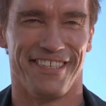 Arnold Schwarzenegger smiling in Terminator 2: Judgment Day