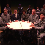 David Byrne performs on Late Show with Stephen Colbert
