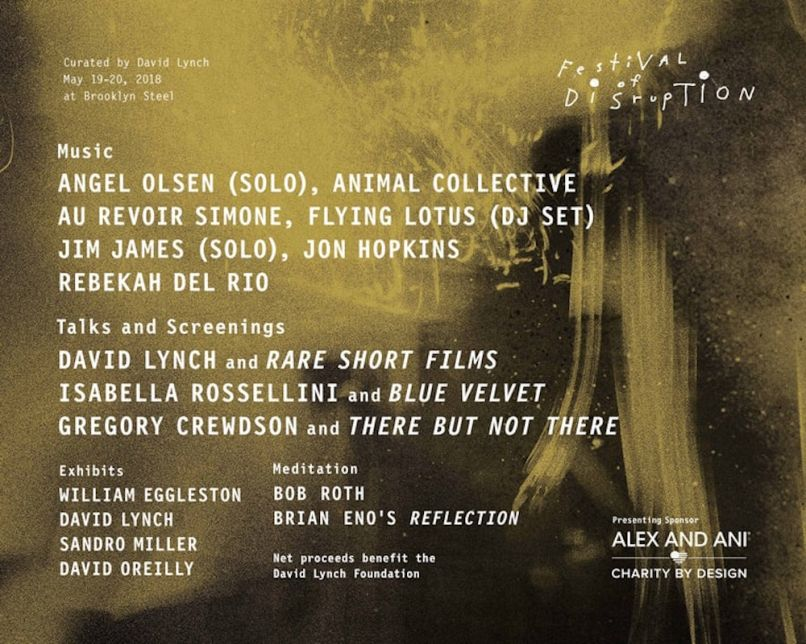 festival disruption brooklyn 2018 David Lynch's Festival of Disruption expands to New York City in 2018