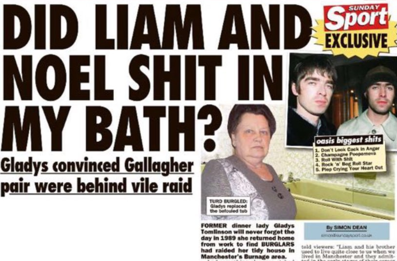 Liam and Noel Gallagher Accused of Shitting in a Bathtub