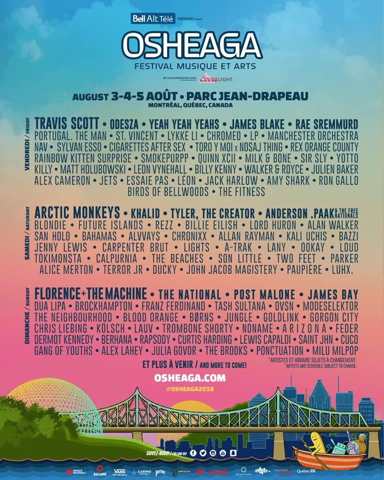 osheaga 2018 lineup Osheaga reveals 2018 lineup: Arctic Monkeys, Florence + The Machine, Yeah Yeah Yeahs to headline
