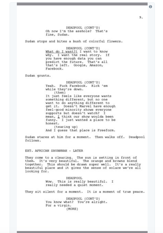 screen shot 2018 03 28 at 10 00 03 am Donald Glover shares script for finale to canceled Deadpool animated TV series