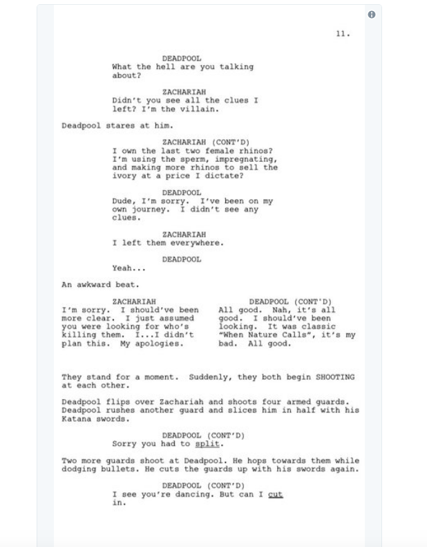screen shot 2018 03 28 at 10 02 14 am Donald Glover shares script for finale to canceled Deadpool animated TV series