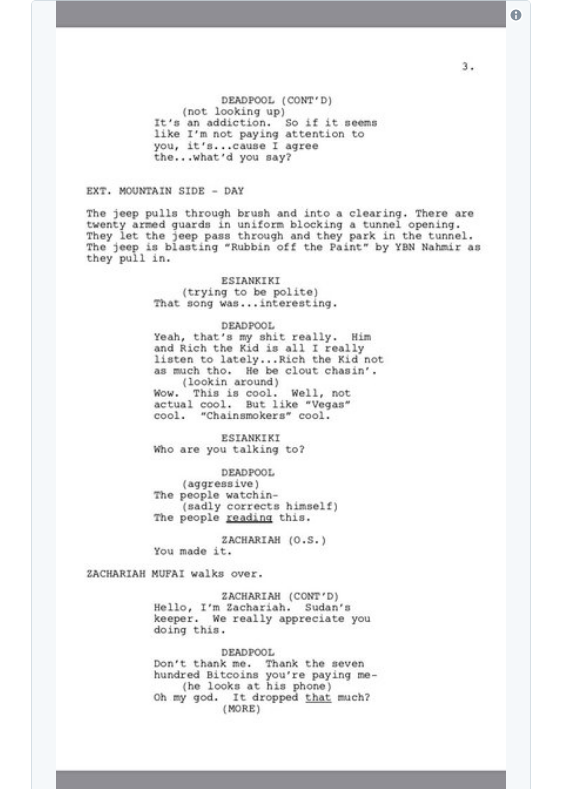 screen shot 2018 03 28 at 9 53 56 am Donald Glover shares script for finale to canceled Deadpool animated TV series