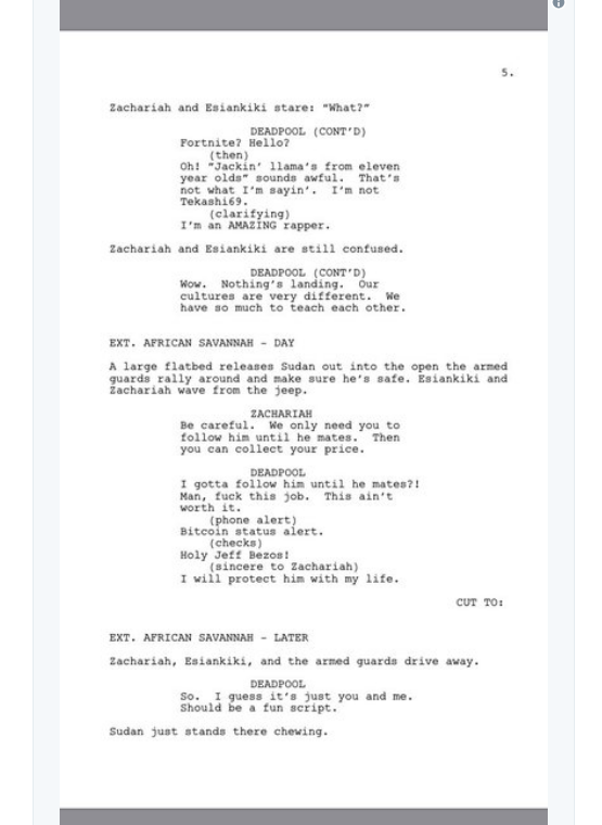 screen shot 2018 03 28 at 9 54 13 am Donald Glover shares script for finale to canceled Deadpool animated TV series