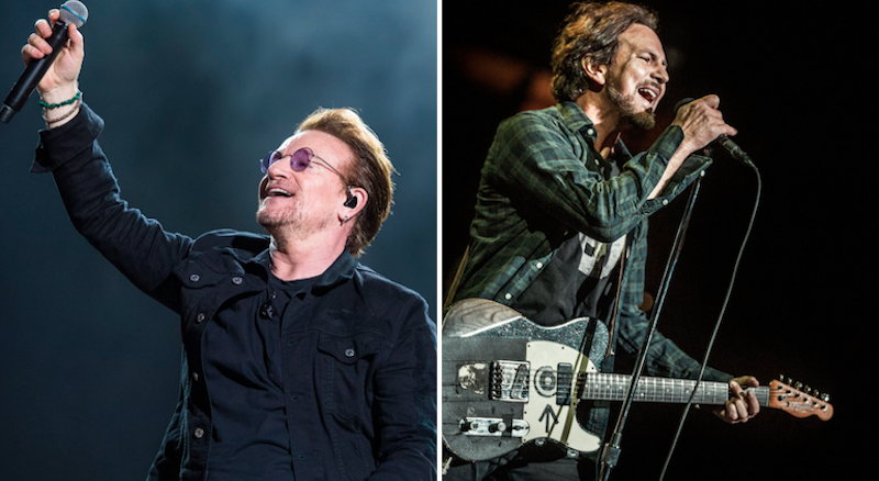 U2 and Eddie Vedder, photos by David Brendan Hall and Chris Hill