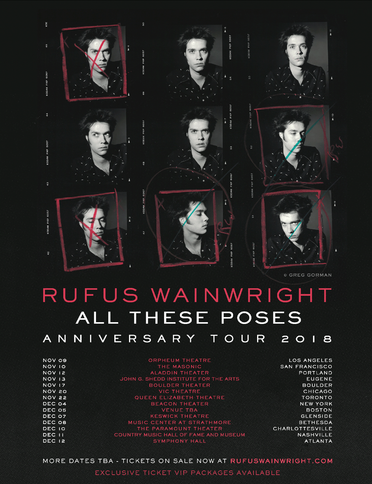 """Rufus Wainwright """"All These Poses"""" 2018 Tour Poster"""