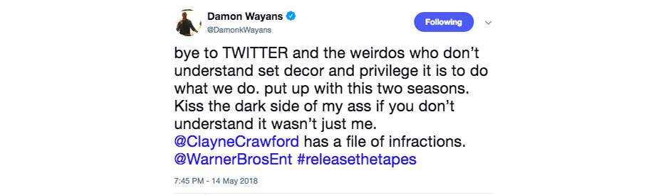 damon wayans twitter screengrab 3 embed Damon Wayans posts graphic video of incident that led to Clayne Crawfords firing from Lethal Weapon