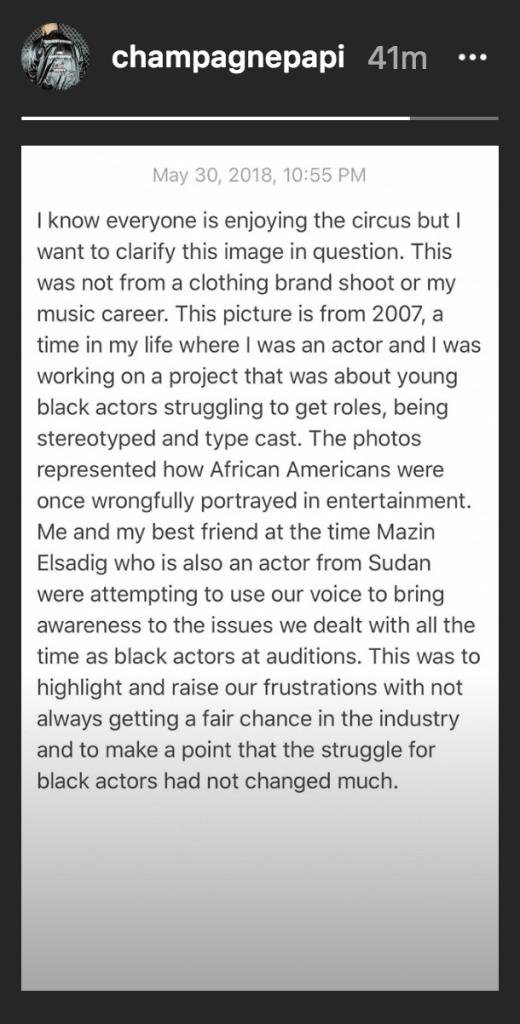 Drake blackface explanation