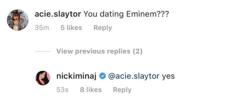 nicki eminem Nicki Minaj says shes dating Eminem