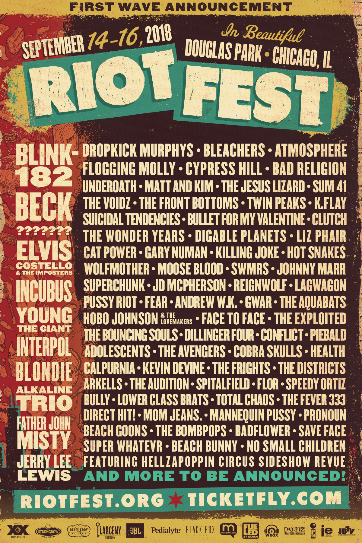 Riot Fest 2018 lineup poster