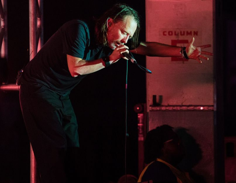 Thom Yorke Bent Over Microphone Spectre Live Debut photo by David Brendan Hall