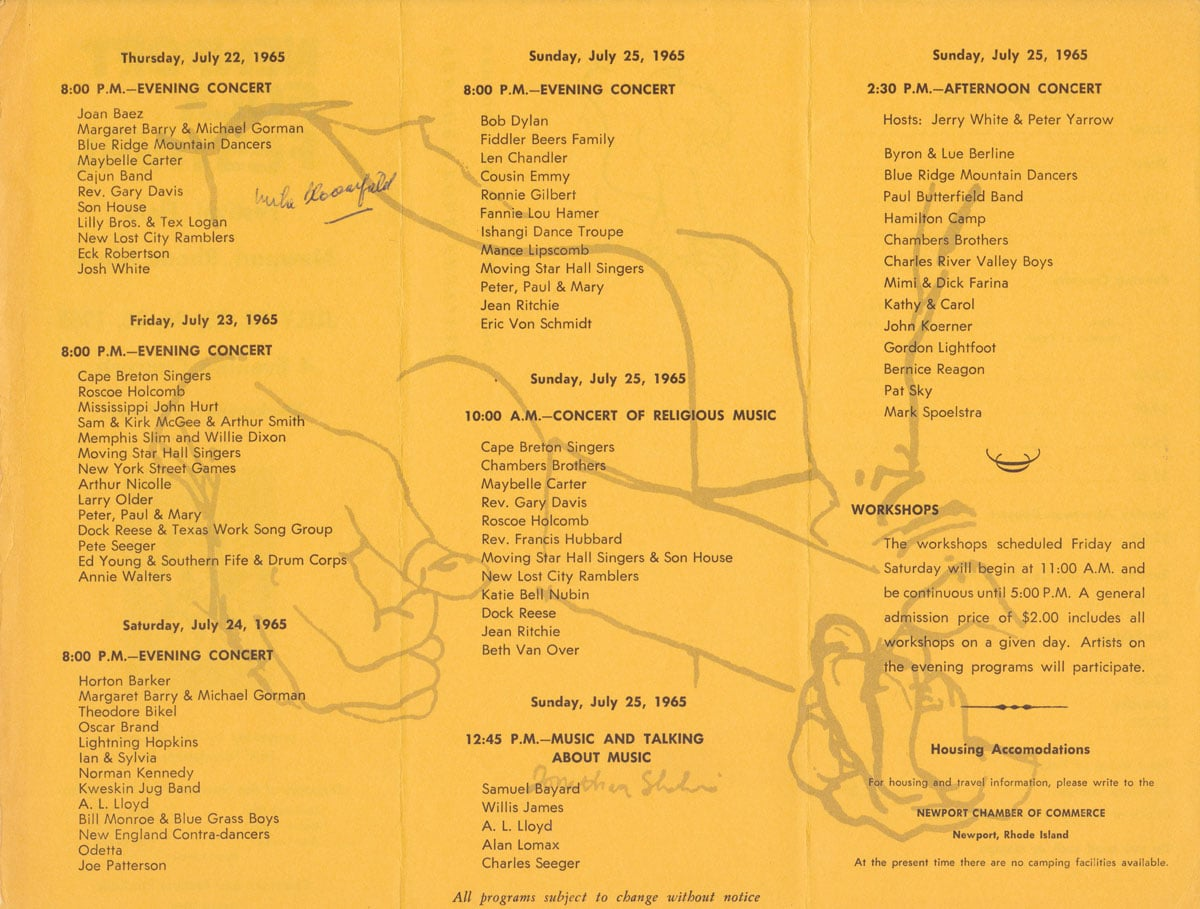 03 newport folk festival 1965 The Top 100 Music Festival Lineups of All Time