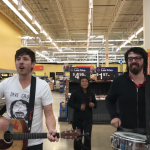 Brett Newski performing in Milwaukee Walmart