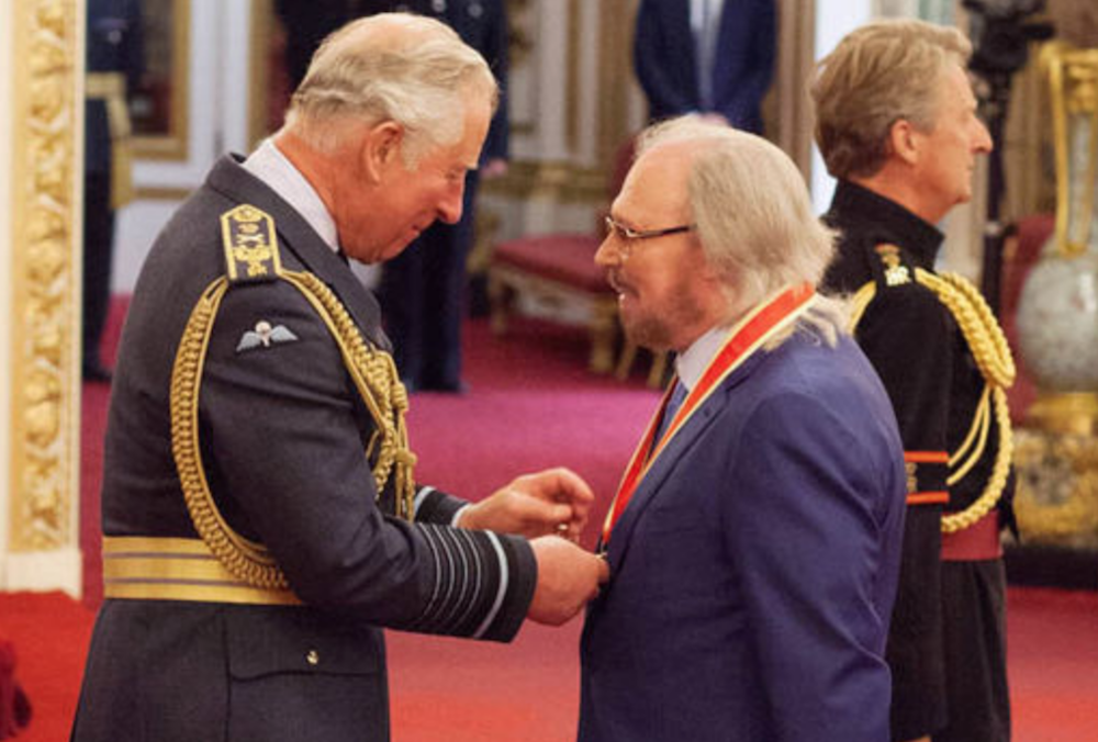 barry gibb knighthood bee gees Bee Gees Barry Gibb officially knighted by Prince Charles