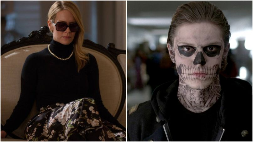 Sarah Paulson Evan Peters American Horror Story Season 8 FX couch skull sunglasses