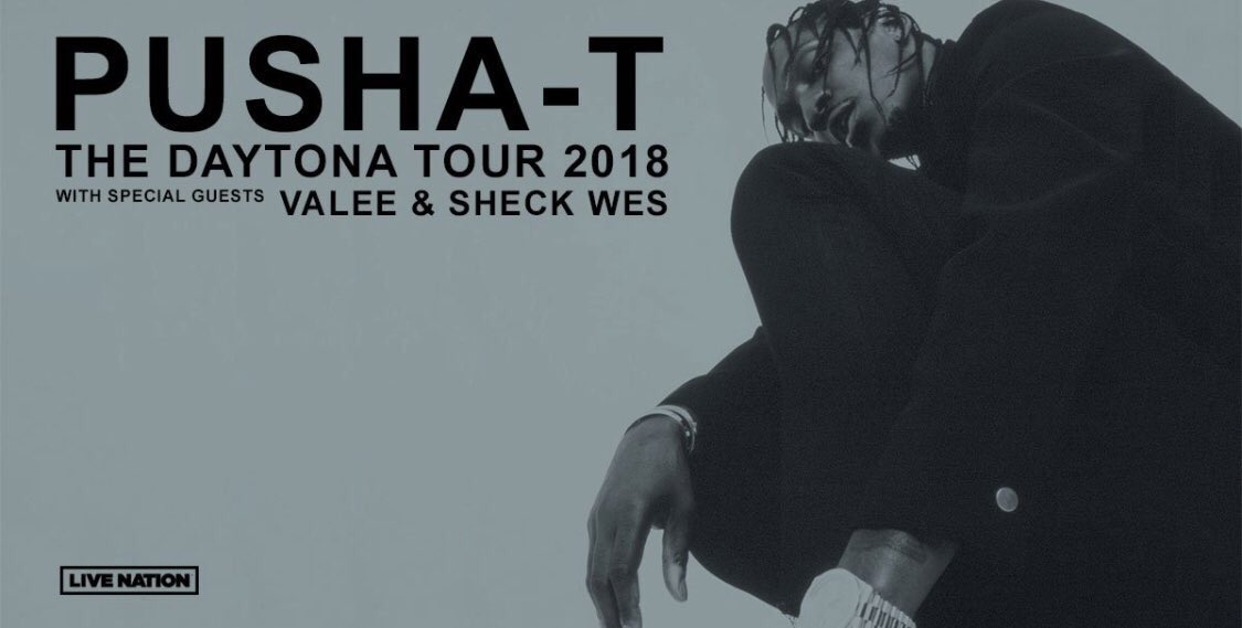 pusha t daytona tour 2018 poster black and white sheck wes valee