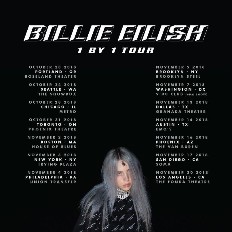 billie eilish tour dates poster