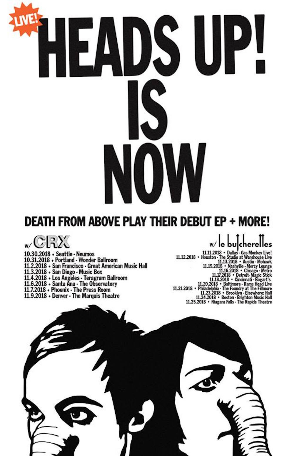dfa 2018 tour dates Death From Above announce Heads Up US tour