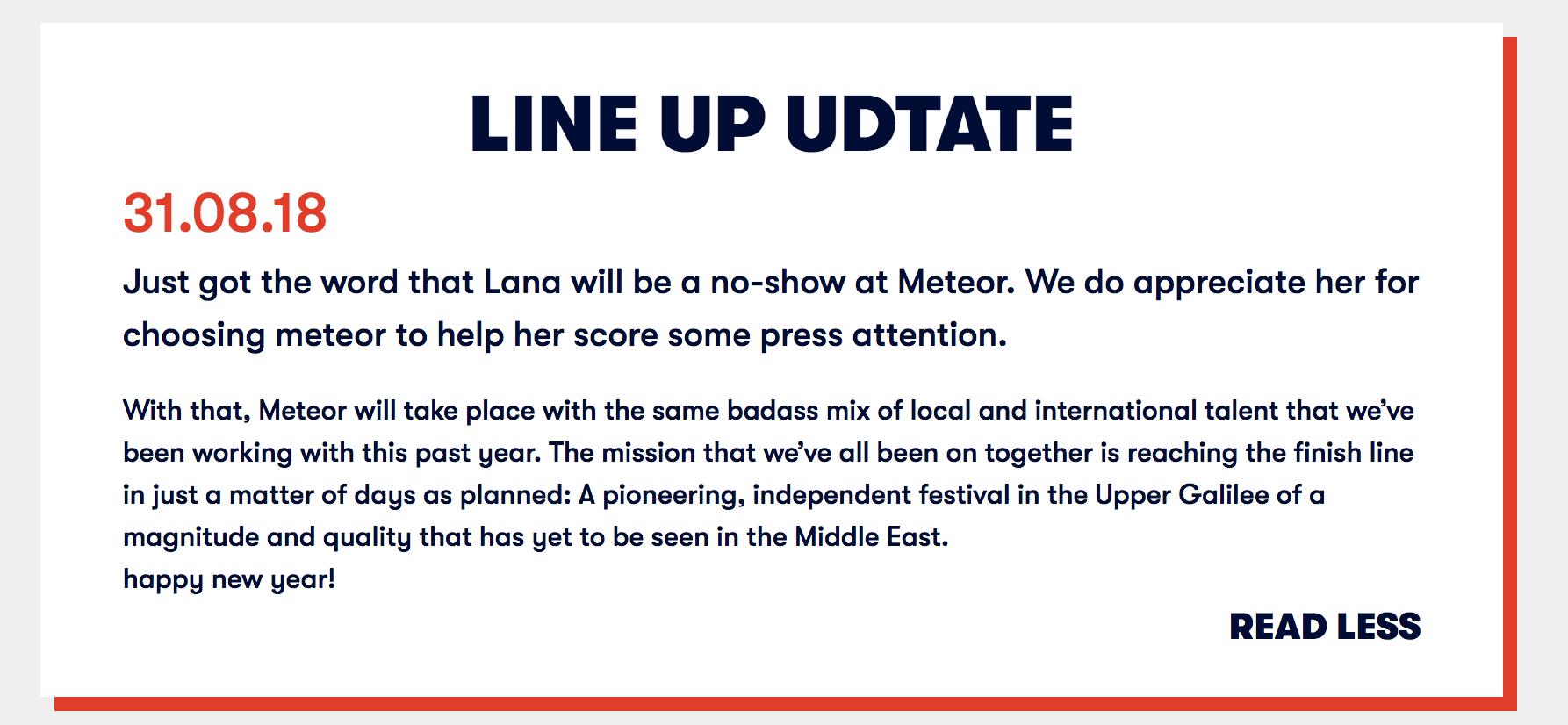 Meteor Festival statement Lana Del Rey cancelation